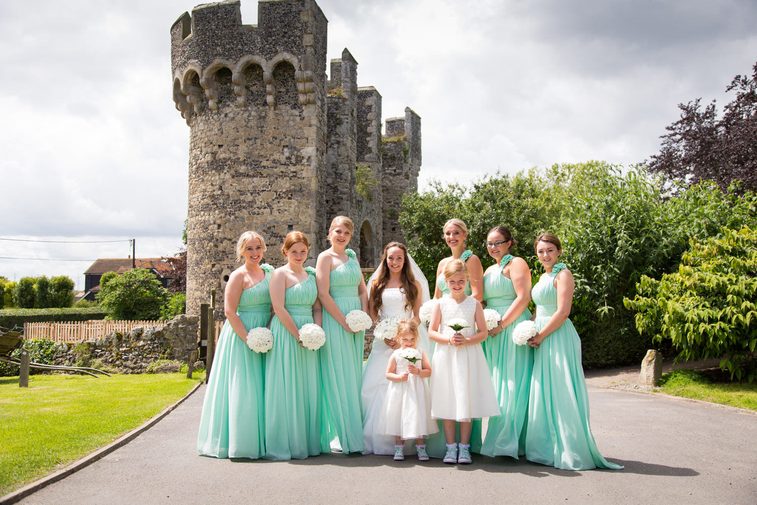 Bridal party with Cooling Castle