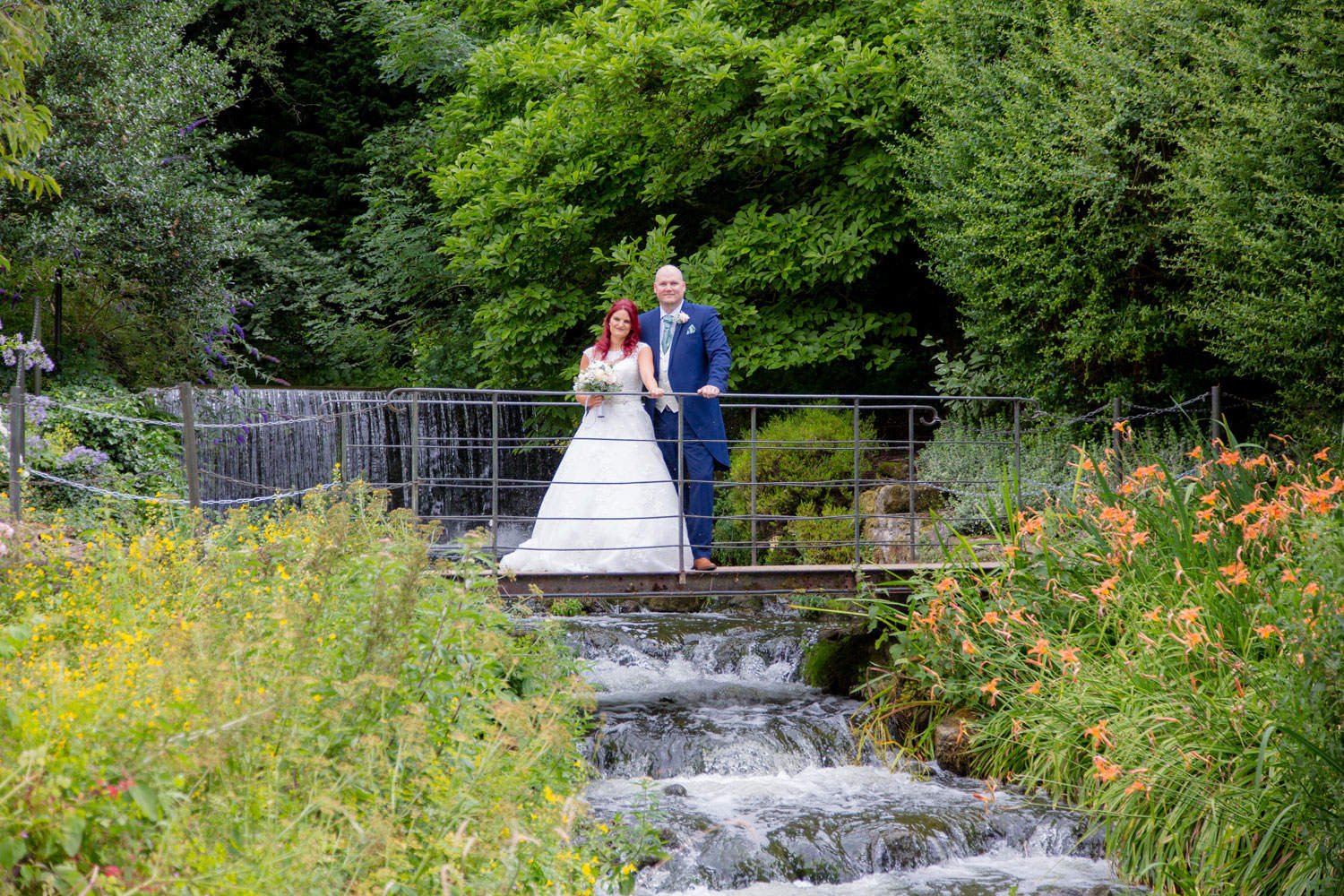 Bride & Groom with waterfall