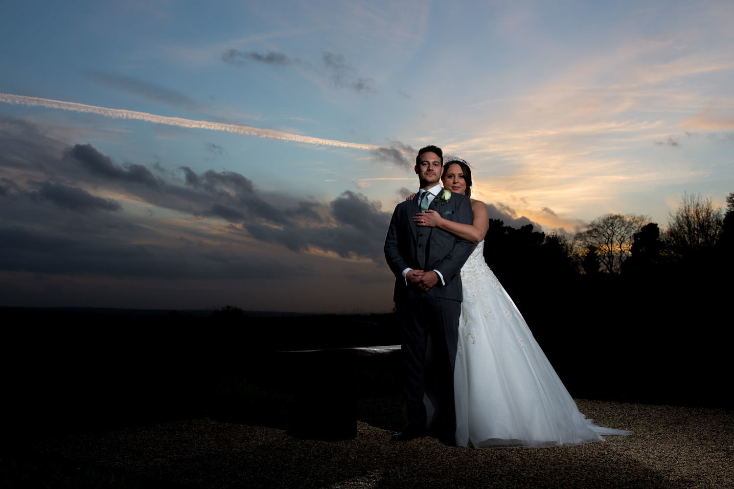 Bride and groom at dusk-2