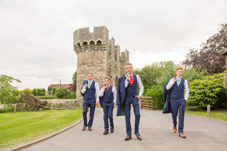 Cooling Castle Barns groomsmen